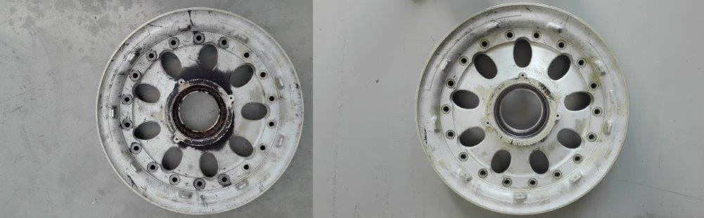 Pulizia cerchio in lega d'alluminio aeromobile